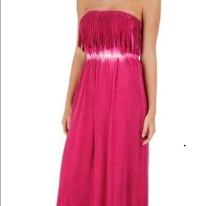 Rip curl fuschia fringe maxi dress
